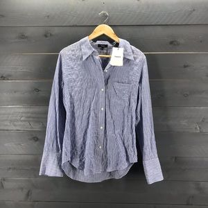 Theory Slim Collar Buttondown Classic Stripe NWT
